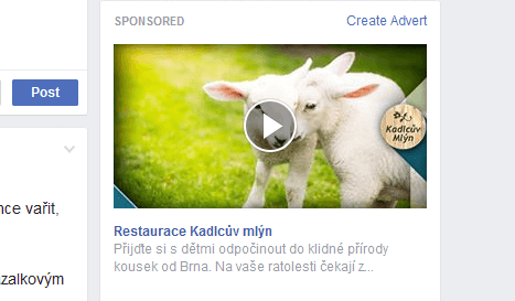 Video / Slideshow reklama na pravé straně na Facebooku
