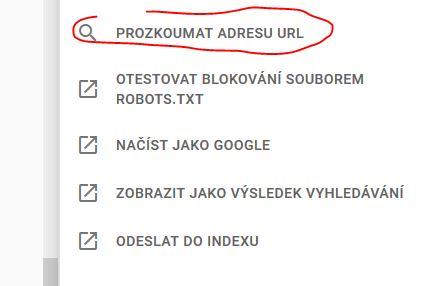 Nástroj Kontrola adresy URL - Zkratka k nástroji na pravé straně
