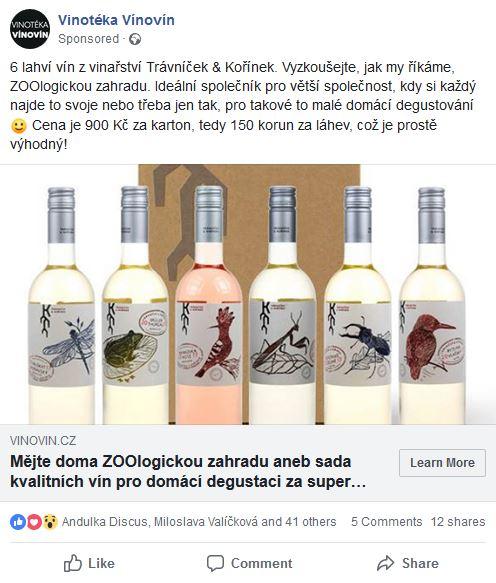 Propagace kartonu speciálně vybraných vín na Facebooku