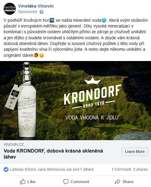 Propagace luxusní minerální vody Krondorf