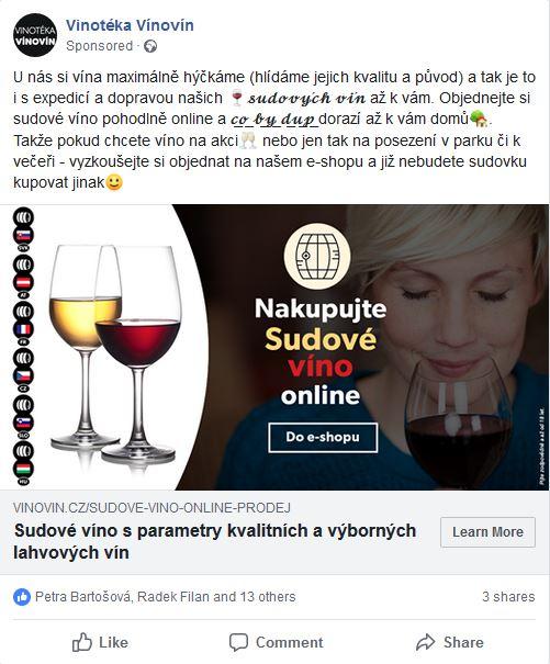 Facebook reklama - Nakupujte sudové víno online