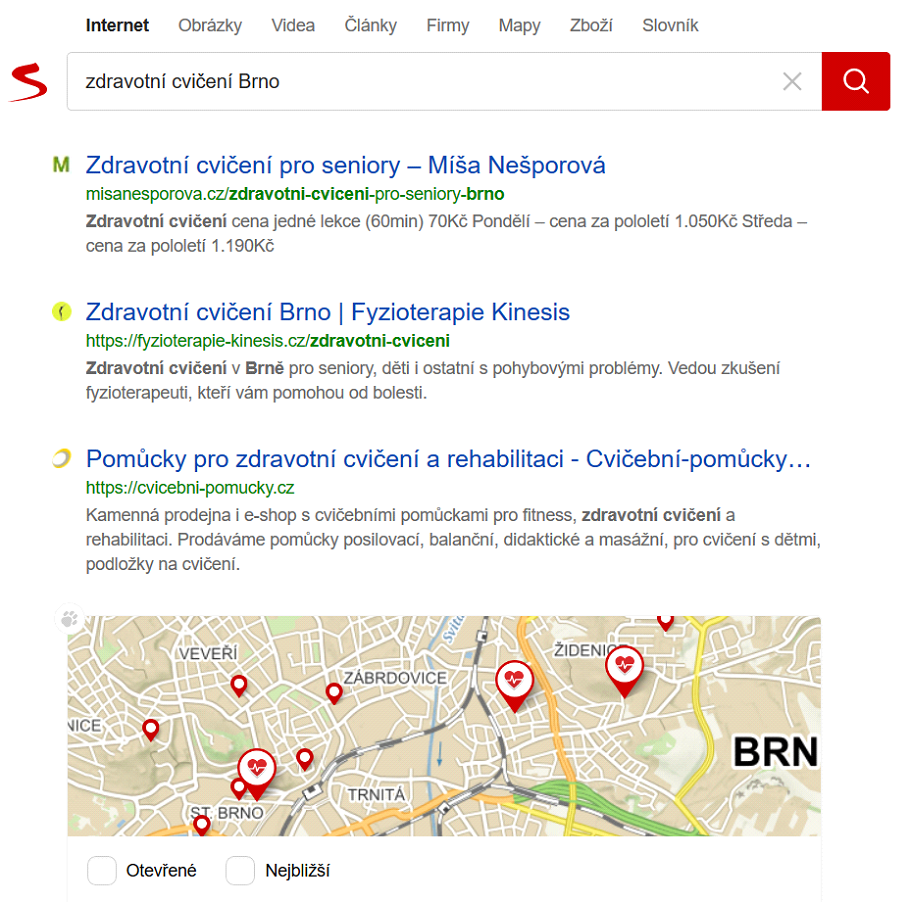 Ukázka výsledku vyhledávání (Seznam.cz, 7. 1. 2020)