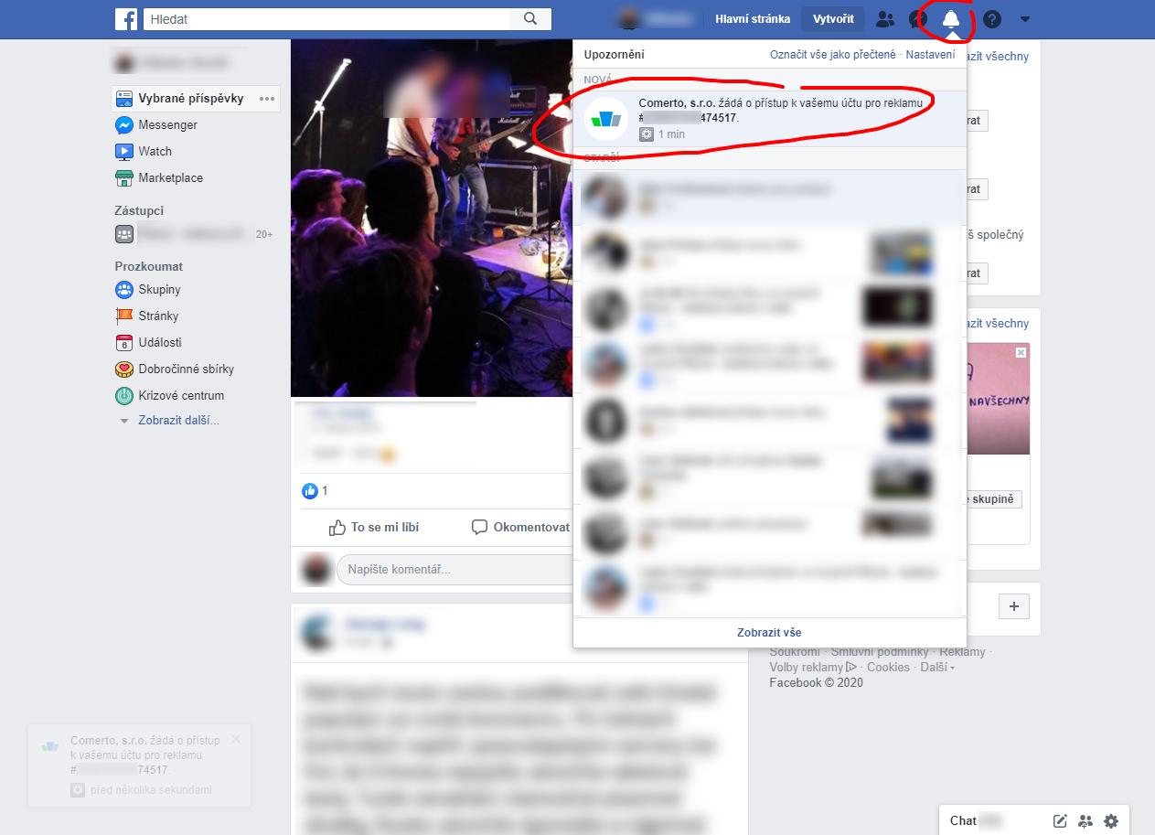 Postup přidělení přístupu do Facebook Ads